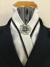 HHD White Satin Dressage Show Stock Tie Black & Grey  Piping Pin Included