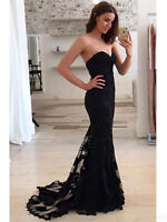 Sweetheart Floor Length Formal Dresses Lace Mermaid Evening Party Prom Gown 2019