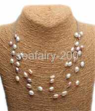 choker pearl necklace 18 Genuine 6-7mm Freshwater Multicolor