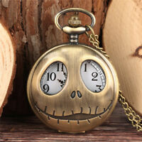 Antique Skull Shell Pocket Watch for Men Quartz Analog Necklace Chain Xmas Gift