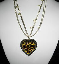 Betsey Johnson Puffed Leopard Heart & Pearl Multi Chain Necklace