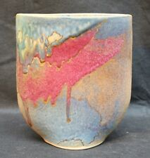 Studio Pottery Stoneware Vase Maureen Shearlaw Signed, Highlights 24 Carat Gold