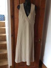 Gorgeous Beige Stone Linen Blend Dress DESIGNER UK 14