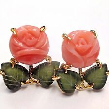 Sweet Natural Coral Rose and Jade Leaf 14K Gold Post Earrings