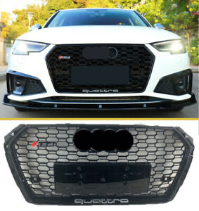 For 2017 - 2020 Audi A4/S4 B9 RS4 Grille Mesh Quattro Gloss Black Honeycomb