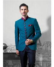 Men Wedding Groom Bespoke Designer Turqoise Blue 2Pc Jodhpuri Mandarin Suit US