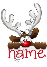 Iron on Transfer Merry Christmas Personalised Cute Reindeer Rudolph Red Nose