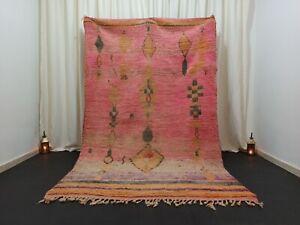 "Moroccan Berber Boujad Pink Rug 5'6"" x 8'8"" Handmade Diamonds Tribal Carpet"