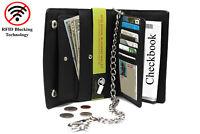 RFID Men's Leather Long Checkbook Tri-fold Chain Wallet 277 Black Snake Texture