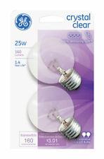 GE  25 watts G16.5  Globe  Incandescent Bulb  E26 (Medium)  Cool White  2 pk