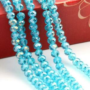 35pc 8mm Faceted Crystal Glass Loose Spacer Colorful Beads AB