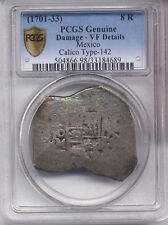 (1701-33) PCGS Secure VF Mexico 8 R Reales COB Calico Type-142 silver AC