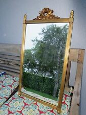 GOLD GILT SQUARE WALL MIRROR WITH TWO CENTER TORCHES  & FABULOUS RIBBONS