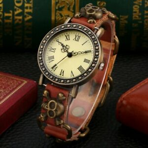 Punk Skull Adjustable Strap Men Women Quartz Watch Leather Bracelet Strap Gift