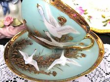 Nippon tea cup and saucer painted beaded jeweled teacup swans birds seagull gold