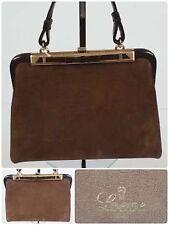 LOEWE, Sac A Main, Nubuck Et Cuir Camel Vintage 1950 Handbag TRES RARE !