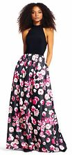 ADRIANNA PAPELL Mock Neck Black Halter Gown With Shimmer Floral Skirt - Sz 8 NWT