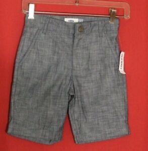 Old Navy NWT Chambray Denim Jean Shorts Boys Size 6 Navy Blue Adjustable Waist