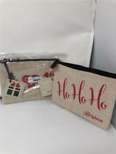2  BRIGHTON Holiday/Christmas Pouch Ho Ho Ho  Sparkle Canvas Zip   (2)  nwt