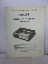 Philips Dictation Machine Service Instructions - 1965 - Type EL3582B