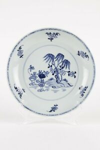 Antique Chinese plate 18th century blue and white willow and lotus