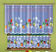 Kitchen Curtains Cafe Net Curtain Lace Fruits White Window Sold by the metre