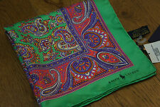 Ralph Lauren cosiddetto hand rolled Tasca SQUARE Sciarpa Verde Paisley Stampa