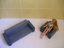 """Vtg Dawn Doll + Wood Dollhouse 7.5"""" Couch & 3.5"""" Chair (Originally Blue Flocked)"""