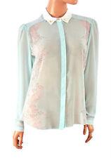 Button Down Collar Chiffon Blouse Plus Size for Women