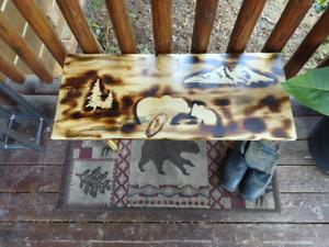 Amish Made Wood Burned Scene Bench