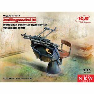 Icm Icm35714 Zwilling Sockel 36, support de mitrailleuse anti-aérienne allemande