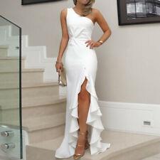 Womens Long Ruffles One Shoulder Evening Dresses Slit Cocktail Formal Dress