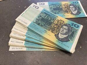 1x random Australian $ 10 Dollar Banknote EAK Paper Note  1985 - 1991 Average