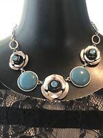 VINTAGE Modernist Chrome Flower Blue Glass & Lucite Circles Pendants necklace
