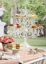 Huge Shabby White Crystal Chic Party Cupcake Candelabra Table Display Stand New