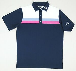 FootJoy Tour Collar Athletic Fit Polo Navy/Multi Color Golden Bear Club Large