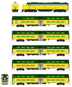 KATO 106104DCC N C&NW E8A & Pullman Bi-Level 400 Train 6-Unit Set 106-104-DCC