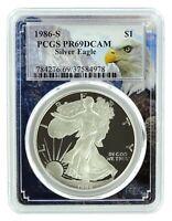 1986 S 1oz Silver Eagle Proof PCGS PR69 DCAM - Eagle Frame