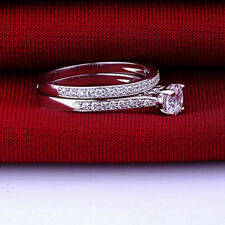 2Pcs Silver Plated Women Wedding Band Ring Engagement Rings Zirconia Jewelry