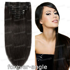 Clip-In Remy Human Hair Extensions Double Weft Thick Full Head 8Pcs 100gr 120gr