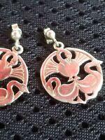 Very stylish vintage sterling silver art deco earrings- three swans- pierced