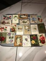 Vtg 1900-15s Birthday Best Wishes Postcards 19pc Lot USA German Made Mix