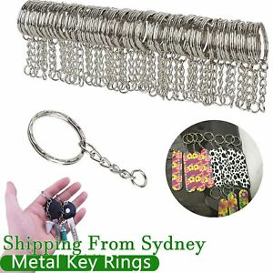 100 Pcs Bulk Split Metal Key Rings Keyring Blanks With Link Chains For DIY Craft