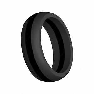 Striped Silicone Wedding Ring Band Thin Line FlexFit Athletic Wear by AERA Rings