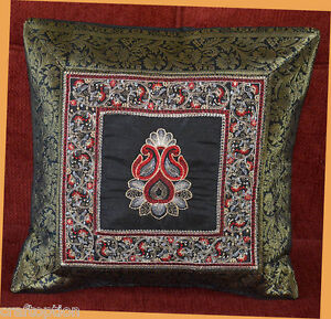 Black SILK EMBROIDERY BROCADE PILLOW COVER/CUSHION COVER FROM INDIA!!