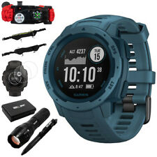 Garmin Instinct Rugged Outdoor Watch w/ GPS, Lakeside Blue + Accessories Bundle