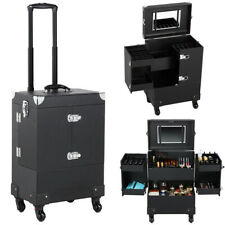 Professional Makeup Train Case Rolling Cosmetic Travel Trolley with Mirror Black