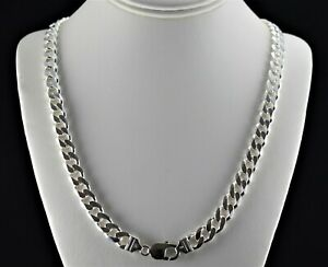 Heavy 10mm Solid 925 Sterling Silver Cuban Link 6 Sided Curb Chain  24 30 mens