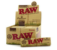 RAW Organic Hemp Connoisseur King size Slim Rolling Papers with Tips Full Box