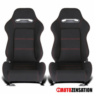 Reclinable Black Fabric Cloth Red Stitch Sporty Racing Seats+Slider Left+Right